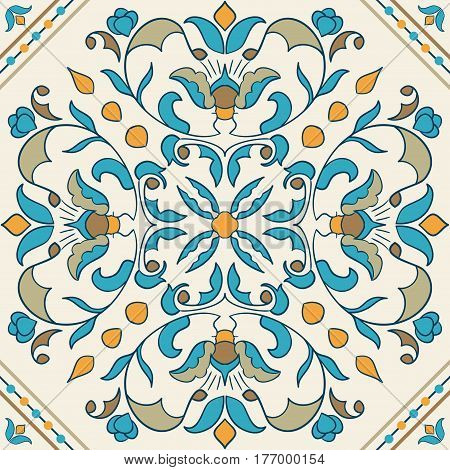Vector Portuguese tile. Beautiful colored pattern for design and fashion with decorative elements. Azulejo, Moroccan, arabic ornaments. Seamless texture