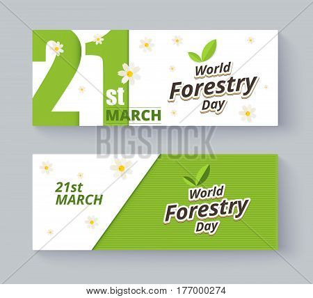 Forestry Day Label And Banner Design. Vector Illustration.