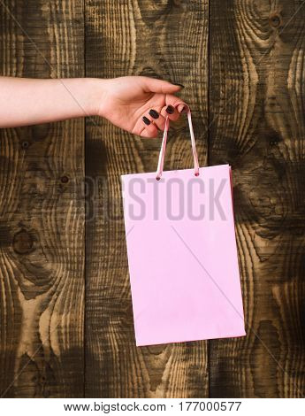 Pink Shopping Bag In Female Hand On Wooden Background