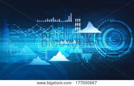 Abstract business chart with uptrend line graph bar chart and diagram in bull market on dark blue background.