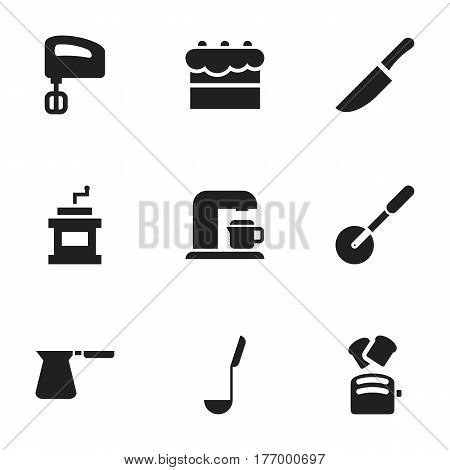 Set Of 9 Editable Cooking Icons. Includes Symbols Such As Slice Bread, Mocha Grinder, Knife And More. Can Be Used For Web, Mobile, UI And Infographic Design.