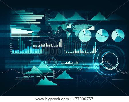 Abstract business chart with uptrend line graph bar chart and diagram in bull market on dark blue background with red rose spot.