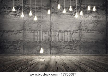 Interior room with dirty concrete cement wall and wooden plank floor. Lightbulbs on seams wall. Underground showroom. 3d rendering illustration