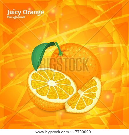 Vector orange fruit on juicy orange background. Composition of tropical fruits of citrus oranges. Design of ripe orange backdrop and citrus orange for packing jam, fruit marmalade, juices, cocktails.