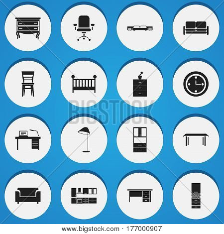 Set Of 16 Editable Furnishings Icons. Includes Symbols Such As Divan, Commode, Interior And More. Can Be Used For Web, Mobile, UI And Infographic Design.
