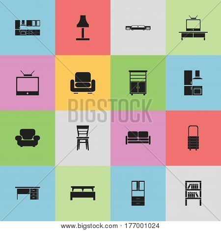 Set Of 16 Editable Interior Icons. Includes Symbols Such As Tv, Settee, Cooking Furnishings And More. Can Be Used For Web, Mobile, UI And Infographic Design.