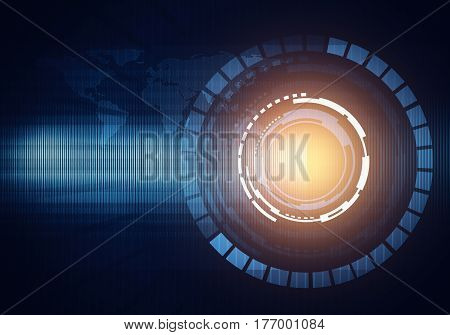Abstract digital image technology interface concept witn circuit microchip background. Light spot.