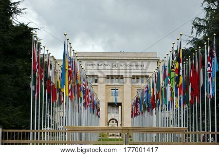 GENEVA, SWITZERLAND - SEPTEMBER 16, 2016: National flags at the entrance of United Nations office, Geneva, Switzerland . The United Nations was established in Geneva in 1947