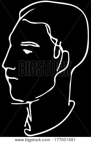 Vector Sketch Of The Face Of A Handsome Young Man