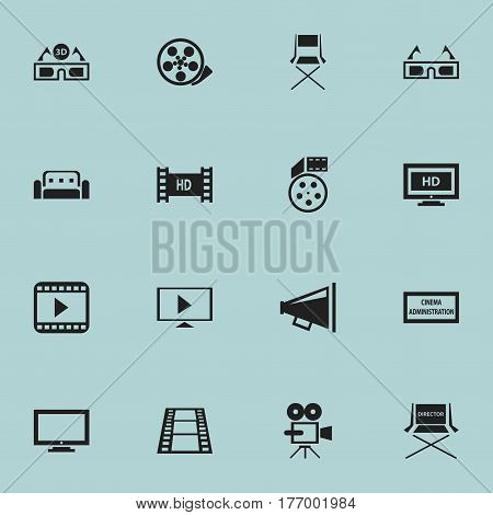 Set Of 16 Editable Filming Icons. Includes Symbols Such As Movie Player, Couch, Film Glasses And More. Can Be Used For Web, Mobile, UI And Infographic Design.