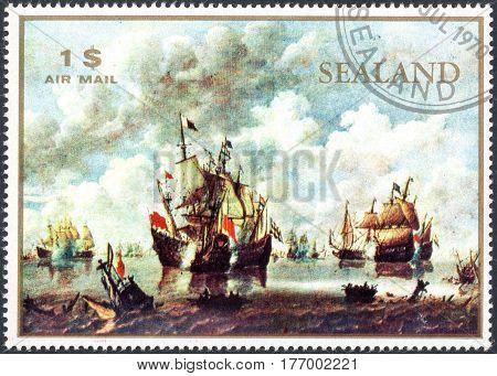 UKRAINE - CIRCA 2017: A stamp printed by Sealand shows sailing ship circa 1970