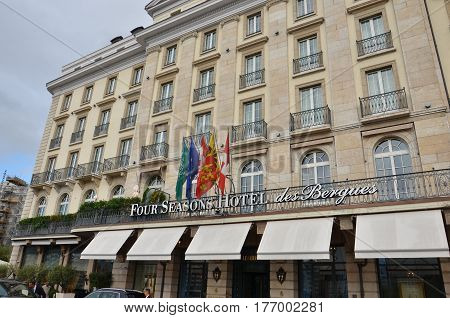 Geneva, Switzerland - 16 September, 2016:facade of the Four Seasons Hotel des Bergues building. The luxurious Hotel des Bergues has been a landmark on Lake Geneva since 1834..