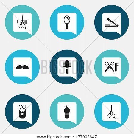 Set Of 9 Editable Coiffeur Icons. Includes Symbols Such As Take The Hair Dryer, Cutter Apparatus, Barber Tools And More. Can Be Used For Web, Mobile, UI And Infographic Design.