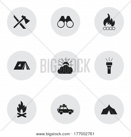 Set Of 9 Editable Travel Icons. Includes Symbols Such As Lantern, Shelter, Field Glasses And More. Can Be Used For Web, Mobile, UI And Infographic Design.