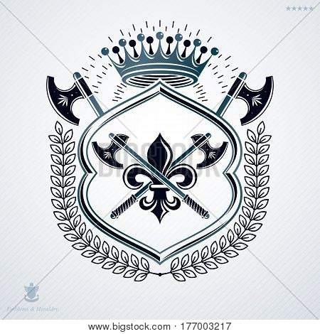 Vector vintage heraldic coat of arms created in award design and decorated using imperial crown and hatchets