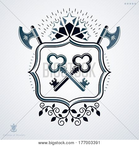 Classy emblem made with stars decoration armory and keys symbols. Vector heraldic Coat of Arms.