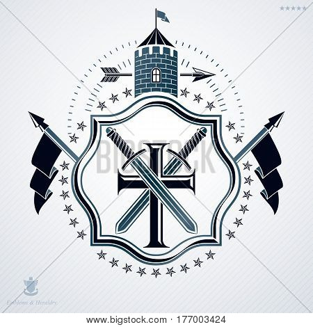 Classy emblem made with pentagonal stars decoration religious cross and tower symbols. Vector heraldic Coat of Arms.