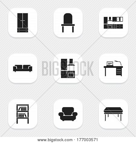Set Of 9 Editable Furniture Icons. Includes Symbols Such As Settee, Lectern, Bookrack And More. Can Be Used For Web, Mobile, UI And Infographic Design.