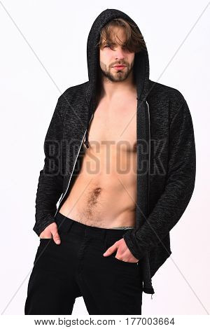 Caucasian Sexy Young Macho Holding Board With Sale Inscription