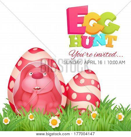 Egg hunt invitation card with pink bunny sitting in egg. Vector illustration