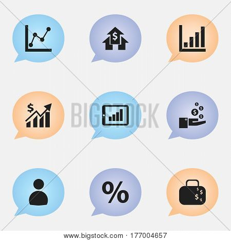 Set Of 9 Editable Statistic Icons. Includes Symbols Such As Banking House, Revenue, Percent And More. Can Be Used For Web, Mobile, UI And Infographic Design.