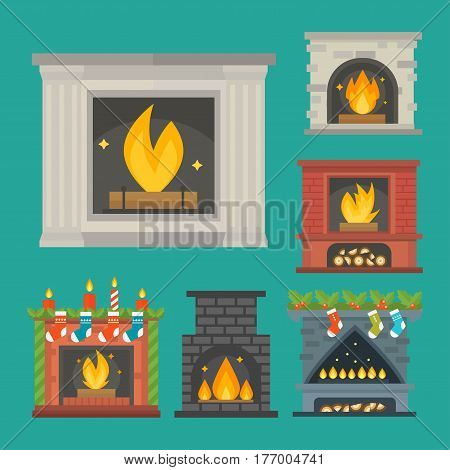 Flat style fireplace icon design house room warm christmas flame bright decoration coal furnace and comfortable warmth energy indoors vector illustration. Traditional furniture retro bonfire.