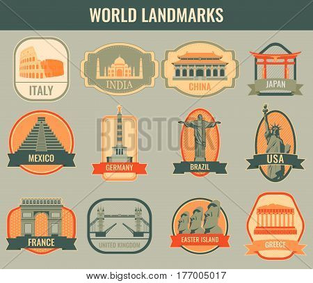 Famous monuments and landmarks collection labels. Travel and Tourism concept. Vector illustration
