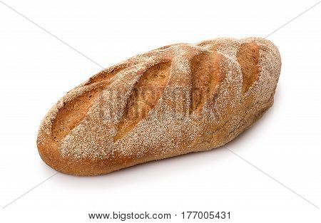 sourdough rye bread isolated on white background. Brown long loaf