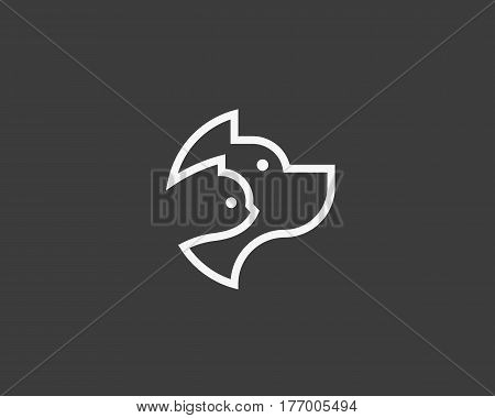 Dog and cat linear logo design. Pet store logotype. Pet vector icon symbol