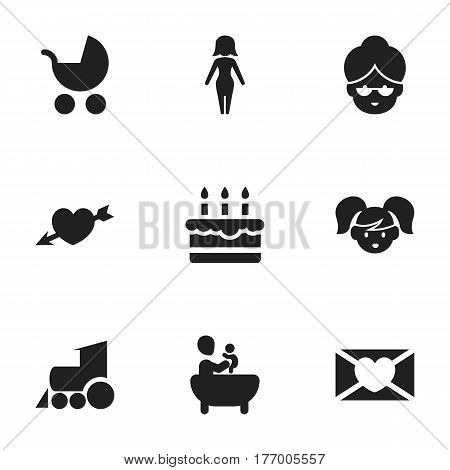 Set Of 9 Editable Relatives Icons. Includes Symbols Such As Affection Letter, Grandma, Daughter. Can Be Used For Web, Mobile, UI And Infographic Design.