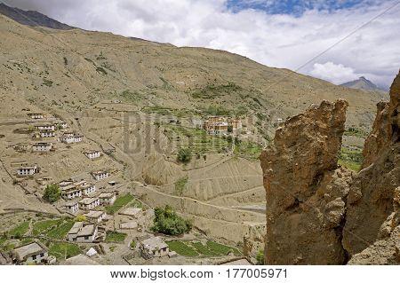 Ancient Buddhist Monastery of Dhankar in the High-Altitude Mountain Desert, Dhankar Village, Spiti Valley, India.