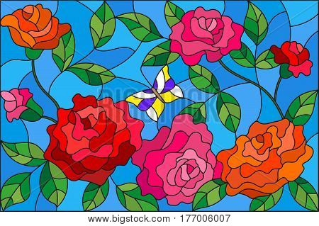 Illustration in stained glass style with flowers and leaves of rose on the blue background