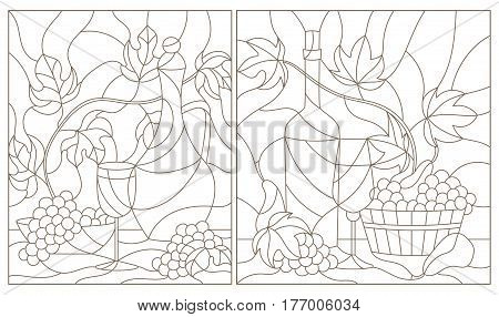 The illustrations in the stained glass style with still life grapes wine and crockery dark outline on a white background