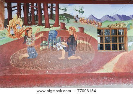 Chichicastenango, Guatemala - 4 February 2014: Maya paintings at the town hall of Chchicastenango on Guatemala