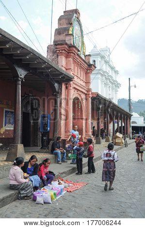 Chichicastenango, Guatemala - 4 February 2014: Indios at the town hall of Chchicastenango on Guatemala
