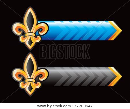 fleur de lis on blue and black arrows