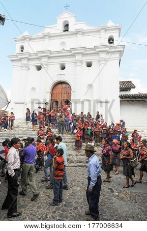 Chichicastenango, Guatemala - 6 February 2014: Indian funeral at the church of Santo Tomas at Chichicastenango on Guatemala