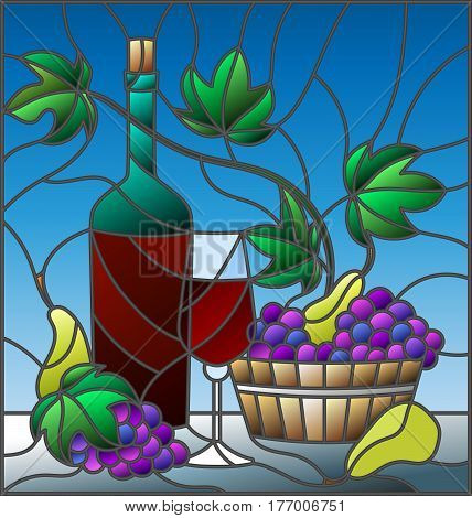 The illustration in stained glass style painting with a still life a bottle of wine glass and grapes on a blue background