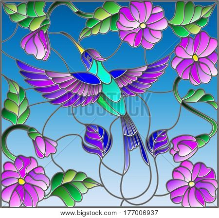 Illustration in stained glass style with colorful Hummingbird on background of the sky greenery and flowers