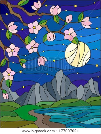 Illustration in stained glass style with the cherry blossoms on a background of mountainsstarry sky moon and the sea