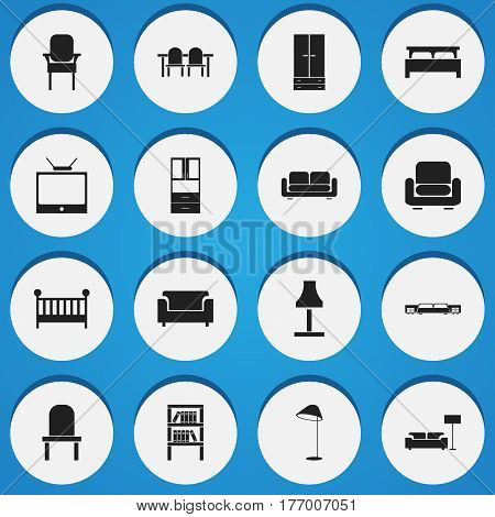 Set Of 16 Editable Furniture Icons. Includes Symbols Such As Glim, Wardrobe, Child Cot And More. Can Be Used For Web, Mobile, UI And Infographic Design.