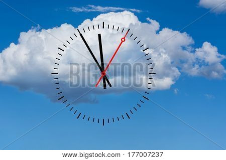 Clock digits with a minute hand and a red second hand indicates the time 5 before 12. Copy space in front of sky and cloud background.