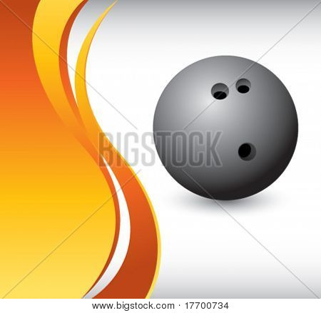 bowling ball on vertical wave background