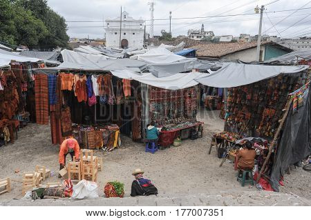 Chichicastenango, Guatemala - 4 February 2014: Market near the Church of Santo Tomas at Chichicastenango on Guatemala