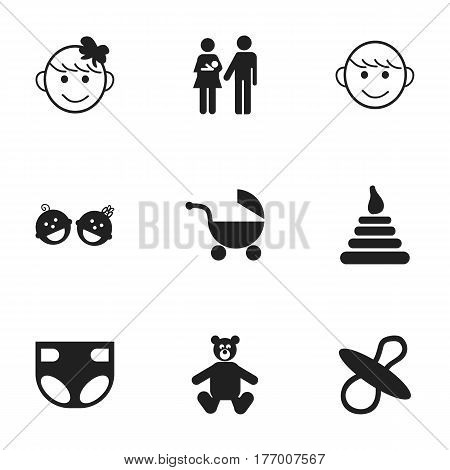 Set Of 9 Editable Baby Icons. Includes Symbols Such As Stroller, Nappy, Twins Babies And More. Can Be Used For Web, Mobile, UI And Infographic Design.