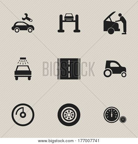 Set Of 9 Editable Transport Icons. Includes Symbols Such As Highway, Speedometer, Speed Display And More. Can Be Used For Web, Mobile, UI And Infographic Design.