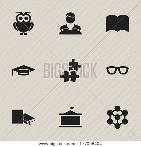 Set Of 9 Editable Education Icons. Includes Symbols Such As Night Fowl, Univercity, Spectacles And More. Can Be Used For Web, Mobile, UI And Infographic Design.