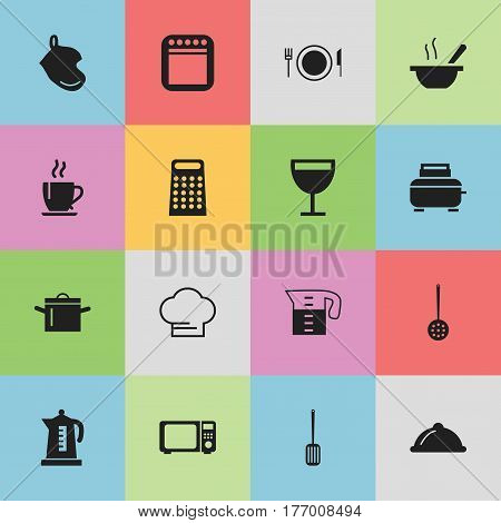Set Of 16 Editable Cook Icons. Includes Symbols Such As Strainer, Toaster, Dish And More. Can Be Used For Web, Mobile, UI And Infographic Design.