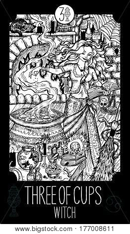 Three of cups. Witch. Minor Arcana Tarot card. Fantasy line art illustration. Engraved vector drawing. See all collection in my portfolio set.