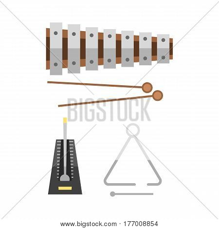 Xylophone and two mallets on hite background musical sound percussion instrument and fun rhythm melody object creative musician equipment vector illustration. Educational entertainment orchestra tool.